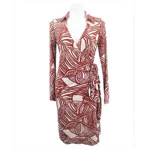 Chetta B Silk Wrap Dress Size 8 Rust Red